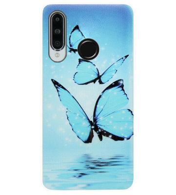 ADEL Siliconen Back Cover Softcase Hoesje voor Huawei P30 Lite - Vlinder Blauw