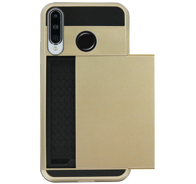 ADEL Kunststof Back Cover Hardcase Hoesje voor Huawei P30 Lite - Pasjeshouder Goud