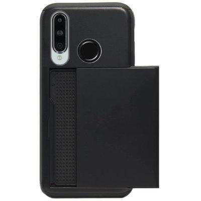 ADEL Kunststof Back Cover Hardcase Hoesje voor Huawei P30 Lite - Pasjeshouder Zwart