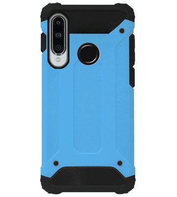 WLONS Rubber Bumper Case Hoesje voor Huawei P30 Lite - Blauw