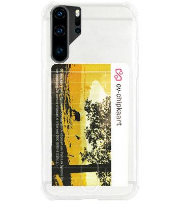 ADEL Siliconen Back Cover Softcase Hoesje voor Huawei P30 Pro - Pasjeshouder Doorzichtig