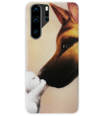 ADEL Siliconen Back Cover Softcase Hoesje voor Huawei P30 Pro - Hond Kat Familie