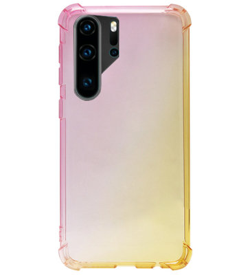 ADEL Siliconen Back Cover Softcase Hoesje voor Huawei P30 Pro - Kleurovergang Roze Geel