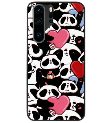 ADEL Siliconen Back Cover Softcase Hoesje voor Huawei P30 Pro - Panda Hartjes
