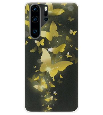 ADEL Siliconen Back Cover Softcase Hoesje voor Huawei P30 Pro - Vlinder Goud