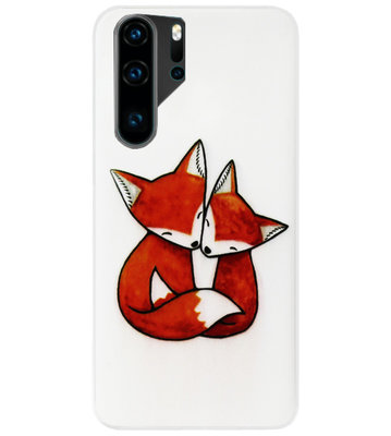 ADEL Siliconen Back Cover Softcase Hoesje voor Huawei P30 Pro - Vossen Familie