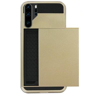 ADEL Kunststof Back Cover Hardcase Hoesje voor Huawei P30 Pro - Pasjeshouder Goud