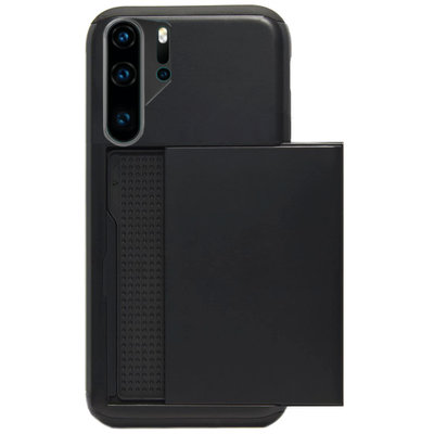 ADEL Kunststof Back Cover Hardcase Hoesje voor Huawei P30 Pro - Pasjeshouder Zwart