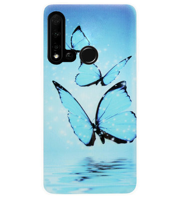 ADEL Siliconen Back Cover Softcase Hoesje voor Huawei P20 Lite (2019) - Vlinder Blauw