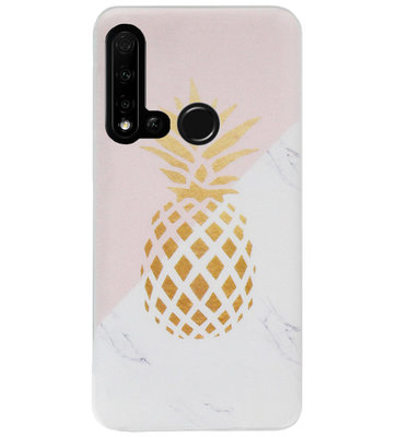 ADEL Siliconen Back Cover Softcase Hoesje voor Huawei P20 Lite (2019) - Ananas Goud