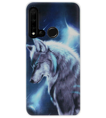 ADEL Siliconen Back Cover Softcase Hoesje voor Huawei P20 Lite (2019) - Wolf