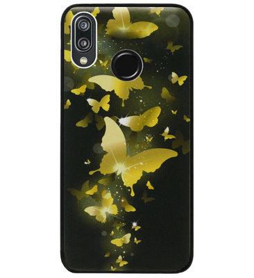 ADEL Siliconen Back Cover Softcase Hoesje voor Huawei P20 Lite (2018) - Vlinder Goud