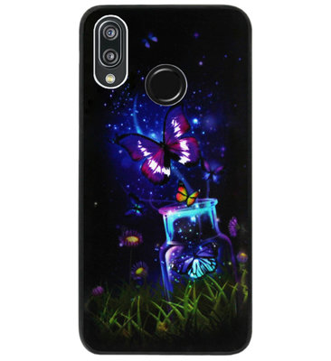 ADEL Siliconen Back Cover Softcase Hoesje voor Huawei P20 Lite (2018) - Vlinder