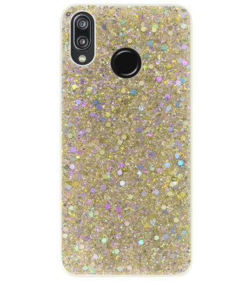 ADEL Premium Siliconen Back Cover Softcase Hoesje voor Huawei P20 Lite (2018) - Bling Bling Glitter Goud