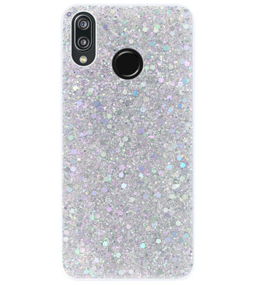ADEL Premium Siliconen Back Cover Softcase Hoesje voor Huawei P20 Lite (2018) - Bling Bling Glitter Zilver