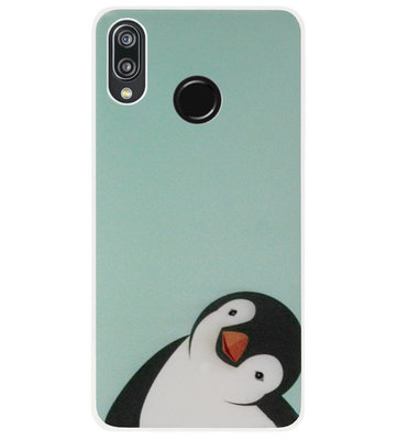ADEL Siliconen Back Cover Softcase Hoesje voor Huawei P20 Lite (2018) - Pinguin