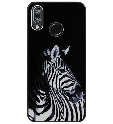 ADEL Siliconen Back Cover Softcase Hoesje voor Huawei P20 Lite (2018) - Zebra