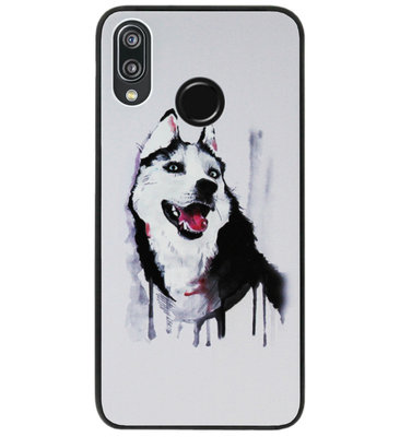 ADEL Siliconen Back Cover Softcase Hoesje voor Huawei P20 Lite (2018) - Wolf