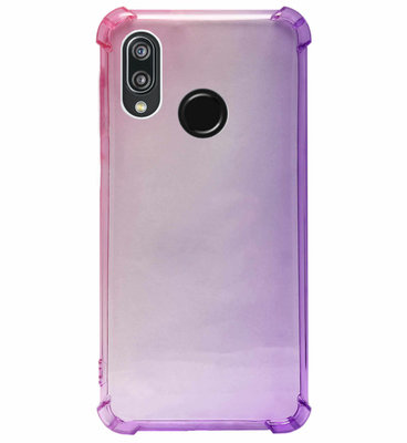 ADEL Siliconen Back Cover Softcase Hoesje voor Huawei P20 Lite (2018) - Kleurovergang Roze Paars