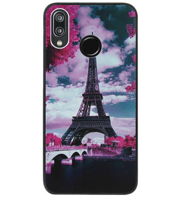 ADEL Siliconen Back Cover Softcase Hoesje voor Huawei P20 Lite (2018) - Parijs Eiffeltoren