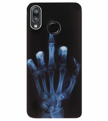 ADEL Siliconen Back Cover Softcase Hoesje voor Huawei P20 Lite (2018) - Schedel Middelvinger