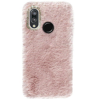 ADEL Siliconen Back Cover Softcase Hoesje voor Huawei P20 Lite (2018) - Roze Pluche