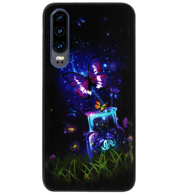 ADEL Siliconen Back Cover Softcase Hoesje voor Huawei P30 - Vlinder