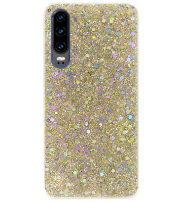 ADEL Premium Siliconen Back Cover Softcase Hoesje voor Huawei P30 - Bling Bling Glitter Goud