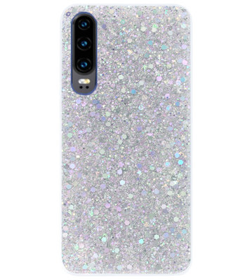 ADEL Premium Siliconen Back Cover Softcase Hoesje voor Huawei P30 - Bling Bling Glitter Zilver