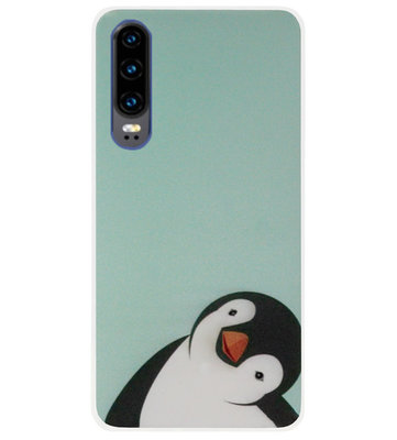 ADEL Siliconen Back Cover Softcase Hoesje voor Huawei P30 - Pinguin