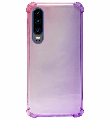 ADEL Siliconen Back Cover Softcase Hoesje voor Huawei P30 - Kleurovergang Roze Paars