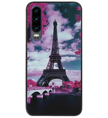 ADEL Siliconen Back Cover Softcase Hoesje voor Huawei P30 - Parijs Eiffeltoren