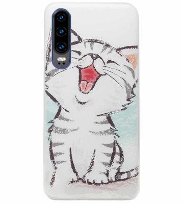 ADEL Siliconen Back Cover Softcase Hoesje voor Huawei P30 - Kat Schattig
