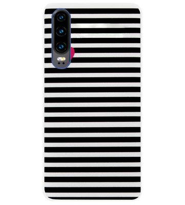 ADEL Siliconen Back Cover Softcase Hoesje voor Huawei P30 - Hartjes Streepjes