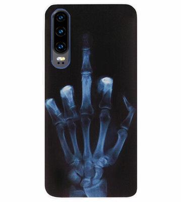ADEL Siliconen Back Cover Softcase Hoesje voor Huawei P30 - Schedel Middelvinger
