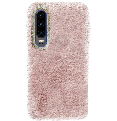 ADEL Siliconen Back Cover Softcase Hoesje voor Huawei P30 - Roze Pluche