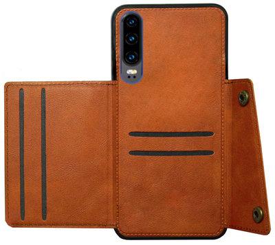 ADEL Kunstleren Back Cover Pasjeshouder Hoesje voor Huawei P30 - Bruin