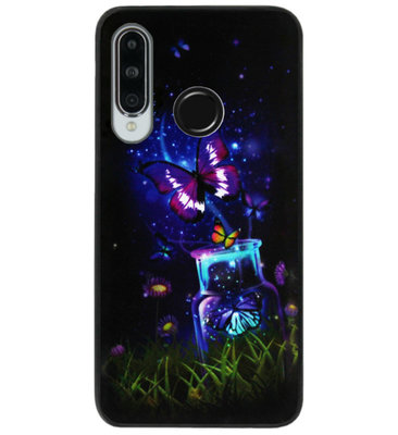 ADEL Siliconen Back Cover Softcase Hoesje voor Huawei P30 Lite - Vlinder