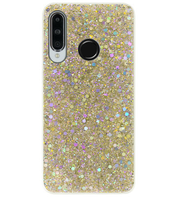 ADEL Premium Siliconen Back Cover Softcase Hoesje voor Huawei P30 Lite - Bling Bling Glitter Goud