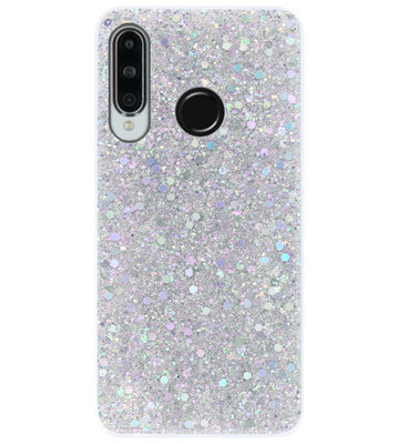 ADEL Premium Siliconen Back Cover Softcase Hoesje voor Huawei P30 Lite - Bling Bling Glitter Zilver