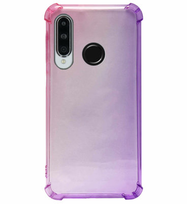 ADEL Siliconen Back Cover Softcase Hoesje voor Huawei P30 Lite - Kleurovergang Roze Paars