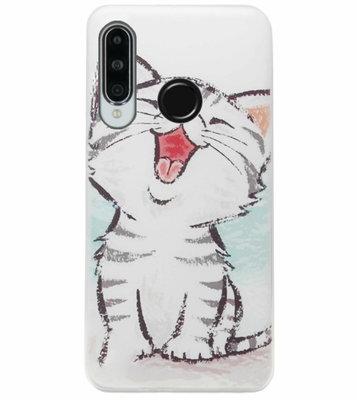 ADEL Siliconen Back Cover Softcase Hoesje voor Huawei P30 Lite - Kat Schattig