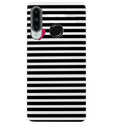 ADEL Siliconen Back Cover Softcase Hoesje voor Huawei P30 Lite - Hartjes Streepjes