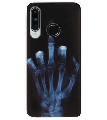 ADEL Siliconen Back Cover Softcase Hoesje voor Huawei P30 Lite - Schedel Middelvinger