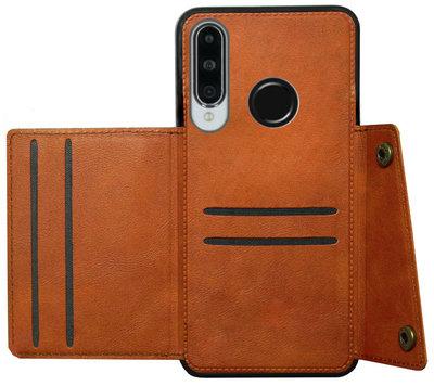 ADEL Kunstleren Back Cover Pasjeshouder Hoesje voor Huawei P30 Lite - Bruin