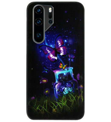 ADEL Siliconen Back Cover Softcase Hoesje voor Huawei P30 Pro - Vlinder
