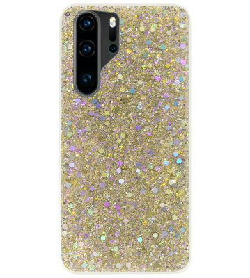 ADEL Premium Siliconen Back Cover Softcase Hoesje voor Huawei P30 Pro - Bling Bling Glitter Goud