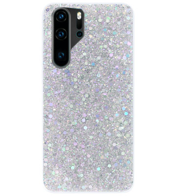 ADEL Premium Siliconen Back Cover Softcase Hoesje voor Huawei P30 Pro - Bling Bling Glitter Zilver