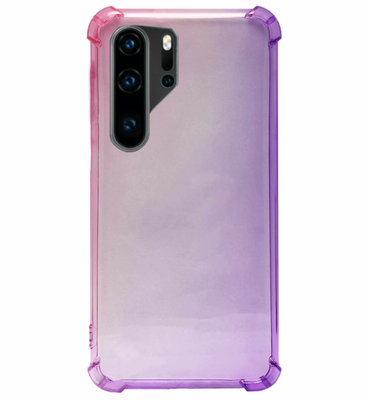 ADEL Siliconen Back Cover Softcase Hoesje voor Huawei P30 Pro - Kleurovergang Roze Paars