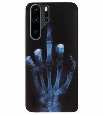 ADEL Siliconen Back Cover Softcase Hoesje voor Huawei P30 Pro - Schedel Middelvinger